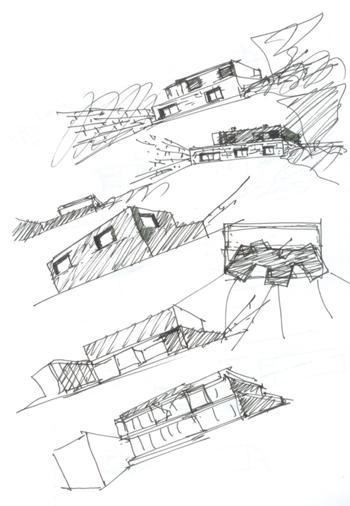 Estudos iniciais do edifício