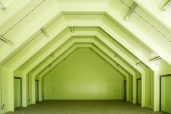 vista interior - pavilhão de apoio de manutenção