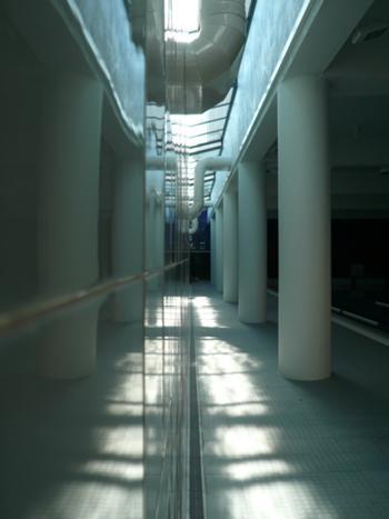 Pormenor da entrada de luz zenital na piscina