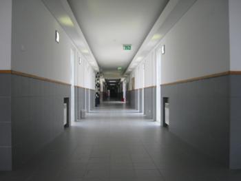 Corredor principal de circulação ( vista desde o átrio na direcção das salas de aula do ensino básico, da sala polivalente e do refeitório