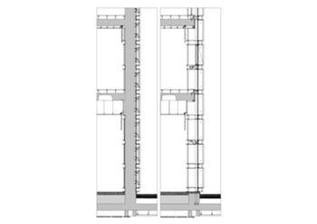 Corte construtivo - pormenor das fachadas de pedra/vidro