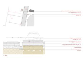 Detalhe de pavimento nas bases das colunas