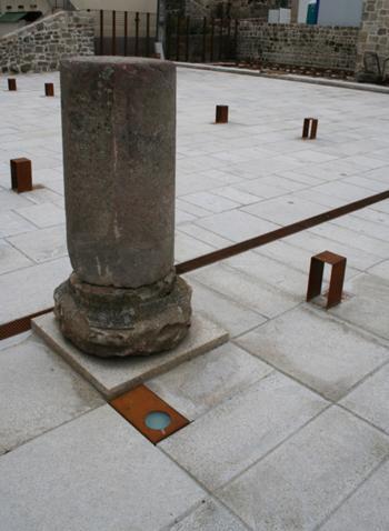 Pormenor de recolocação da coluna