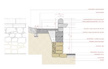 Pormenor tipo da consolidação do muro da arena