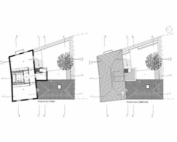 Plantas do piso 2 e da cobertura